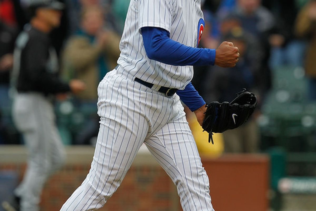 Is this a celebration? Or just relief? Carlos Marmol nails down his fifth save.