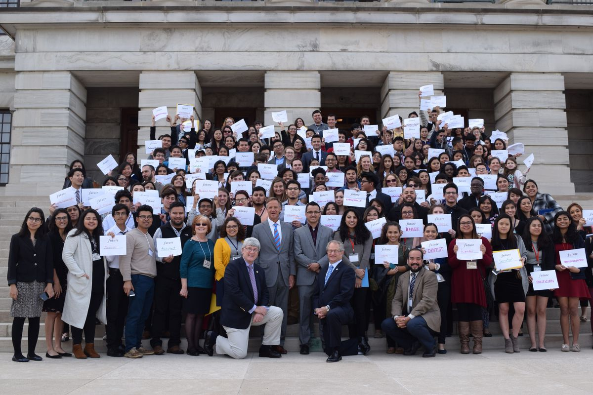 Immigrant students supporting the bill pose with Gov. Bill Haslam and bill sponsors Rep. Mark White and Sen. Todd Gardenhire during a visit to the State Capitol in March.