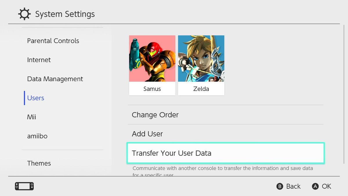 Nintendo Switch's System Settings > Users > Transfer Your User Data menu