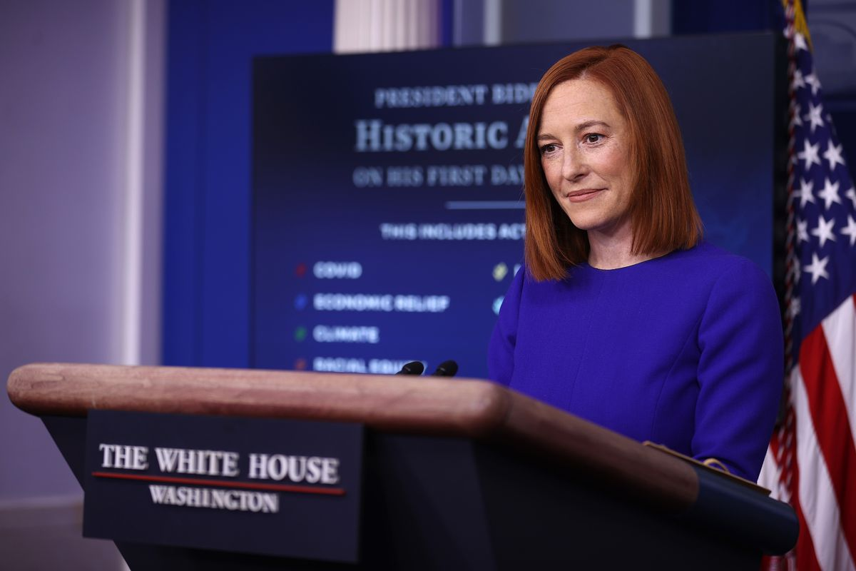 White House Press Secretary Jen Psaki Holds News Briefing On President's Biden Inauguration Day