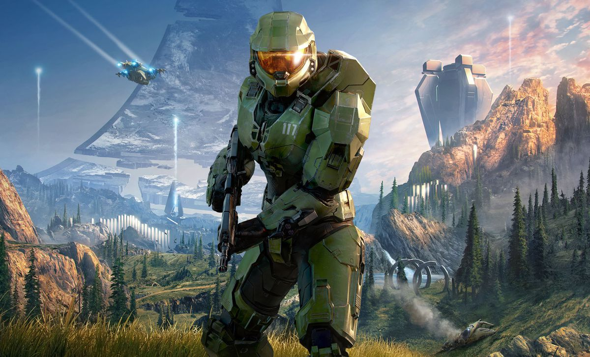 artwork of Master Chief on a Halo ring from Halo Infinite