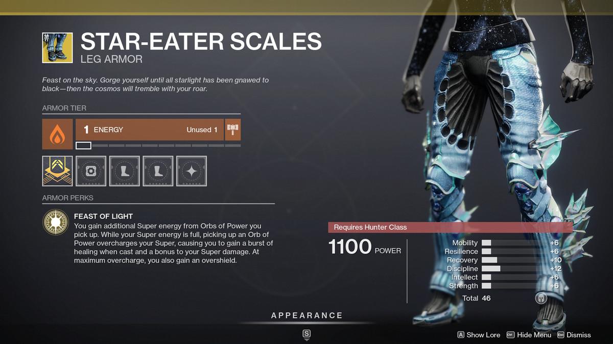 Destiny 2 Season of the Splicer Star-Eater Scales Piernas de cazador