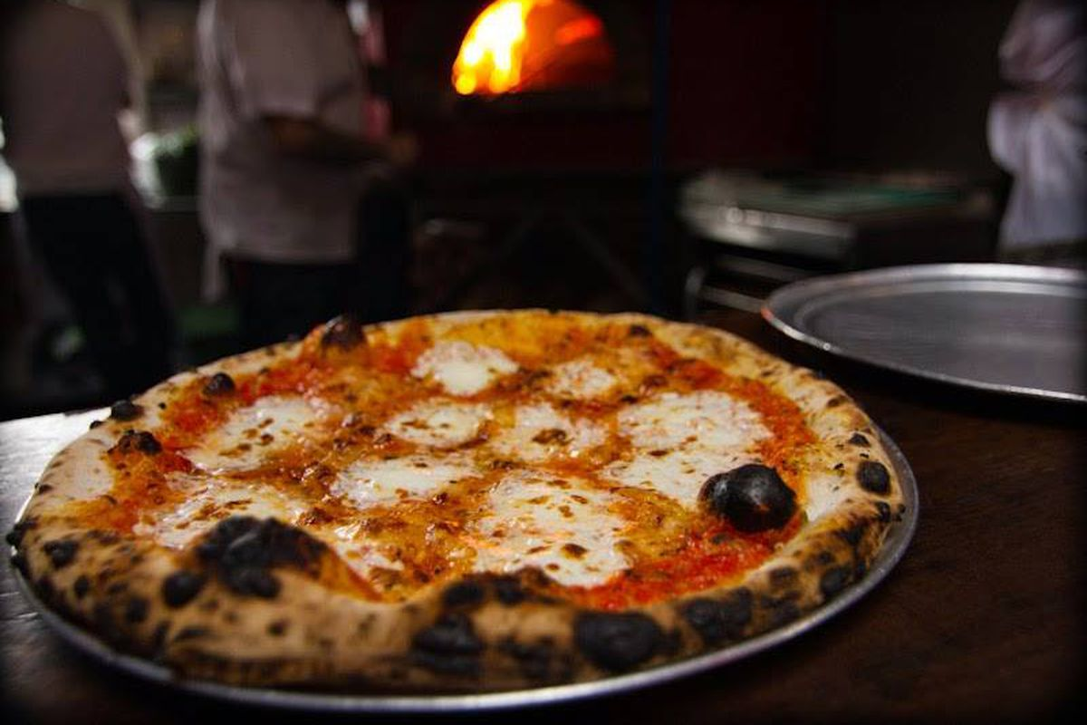 A cheese Neapolitan pizza coming out of an even.