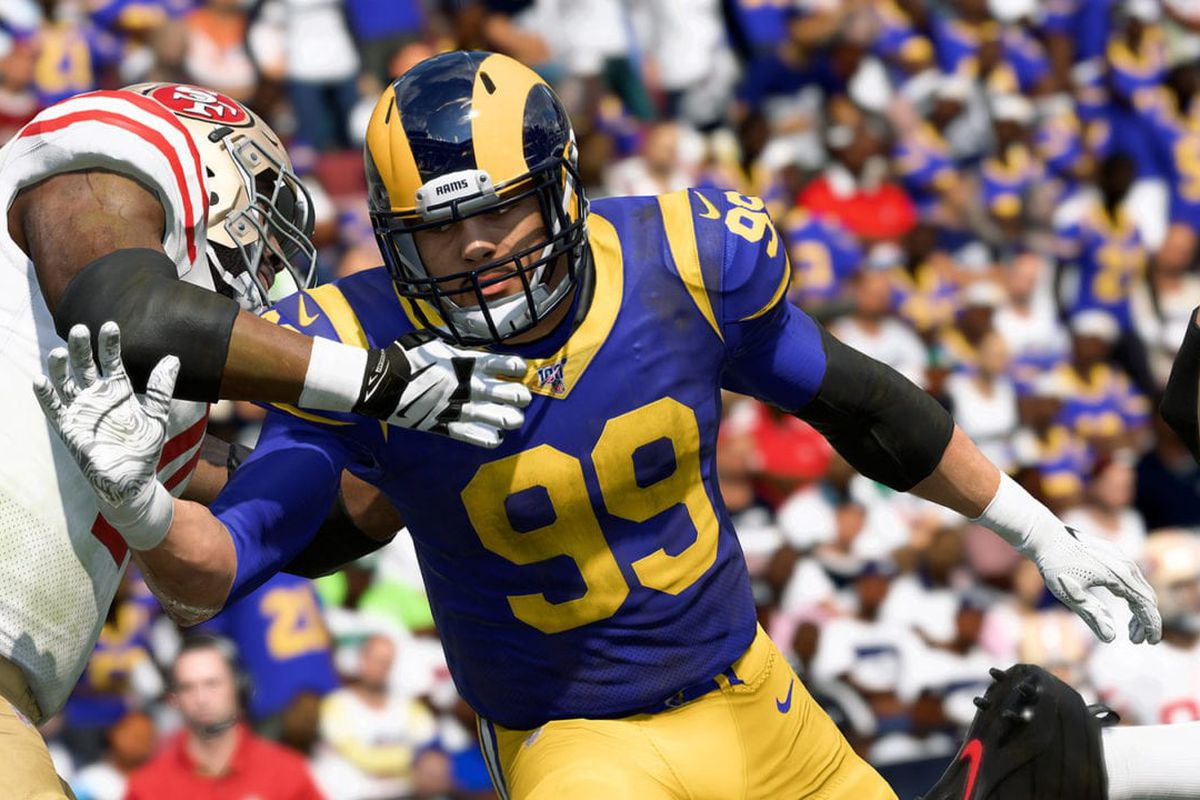 Madden NFL 20 screenshot of the the L.A. Rams' Aaron Donald forcing his way through the San Francisco 49ers' pass protection