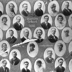 The State Historical Society has a great collection of Utah high school and University photos an annuals. This 1916 photo shows the students of Burton School in Salt Lake. On the far right on the second row down from the top you can see Rulon Hales, father of Elder Robert D. Hales.