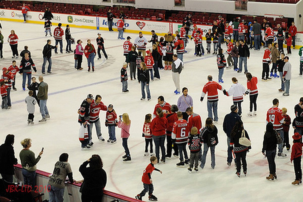 """Carolina Hurricanes players and fans take the ice for the annual Skate with the Canes benefitting the Kids 'N Community Foundation.  December 30, 2010.  <a href=""""http://farm6.static.flickr.com/5168/5308567761_dd1c066cab.jpg"""">Author's photo</a>"""