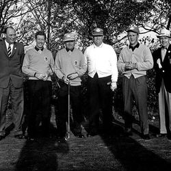 In this 1961 photo, Billy Casper and Arnold Palmer were rookie teammates on the U.S. Ryder Cup team that defeated Great Britain. Their first match was against British golfers Dai Rees, next to Casper, and Ken Bousfield.