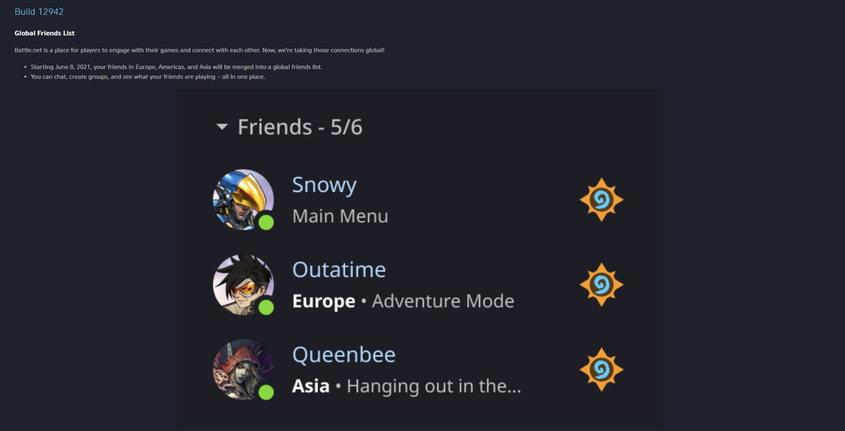 Patch notes from Blizzard's Battle.net launcher that introduce the global friends list