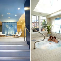 """<span class=""""credit"""">The lobby and sky-lit hot tub at G2O; via <a href=""""https://www.facebook.com/media/set/?set=a.275904850087.324851.275899805087&type=3"""">Facebook</a></span> <p><b>G2O Spa & Salon</b>: As its name suggests, G2O appreciates the nourishing"""