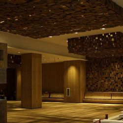 The wood dining area at Bacchanal Buffet.