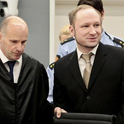 Accused Norwegian Anders Behring Breivik , right, and his defence lawyer Geir Lippestad, left, arrive in  the courtroom, Monday, April 16, 2012 in Oslo, Norway. The terror trial against an anti-Muslim fanatic who confessed to killing 77 people in Norway starts amid worries that he will use the proceedings to showcase his radical views. After opening statements, Anders Behring Breivik is set to testify for five days, explaining why he set off a bomb in downtown Oslo, killing eight, and then shot to death 69 people, mostly teenagers, at a Labor Party youth camp on Utoya island, outside the Norwegian capital.