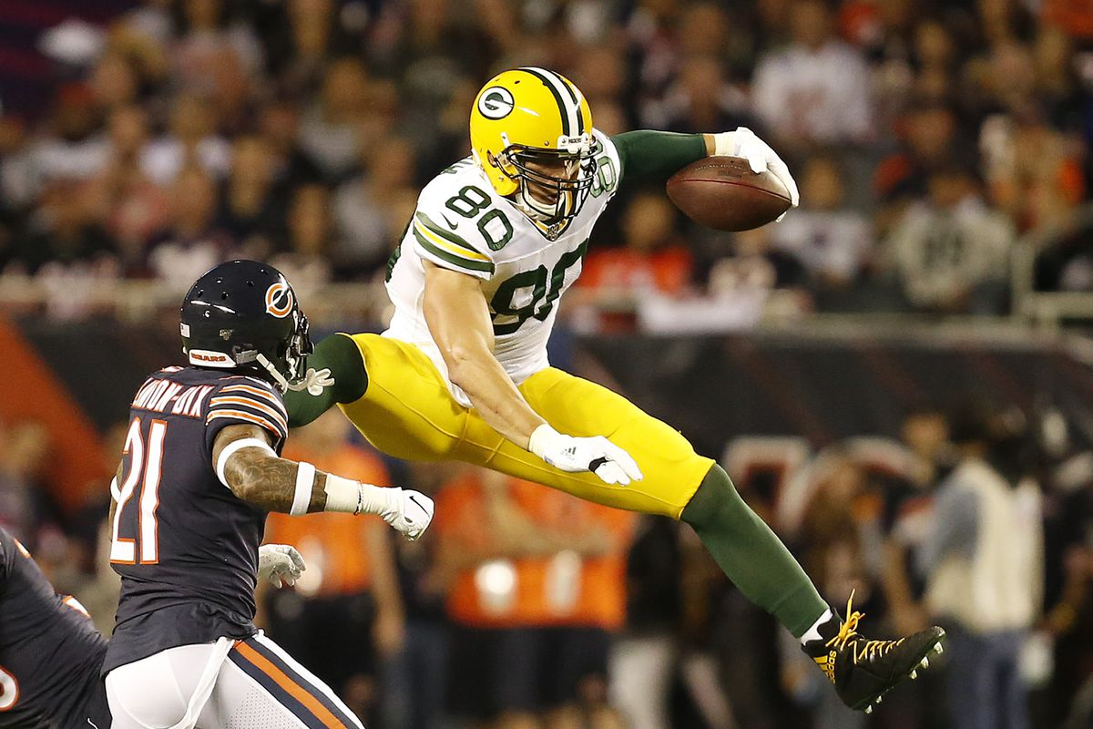 Current Bears and former Packers tight end Jimmy Graham (80, avoiding Bears safety Ha Ha Clinton-Dix last season at Soldier Field) caught 38 passes for 447 yards and three touchdowns (one against the Bears) last season.