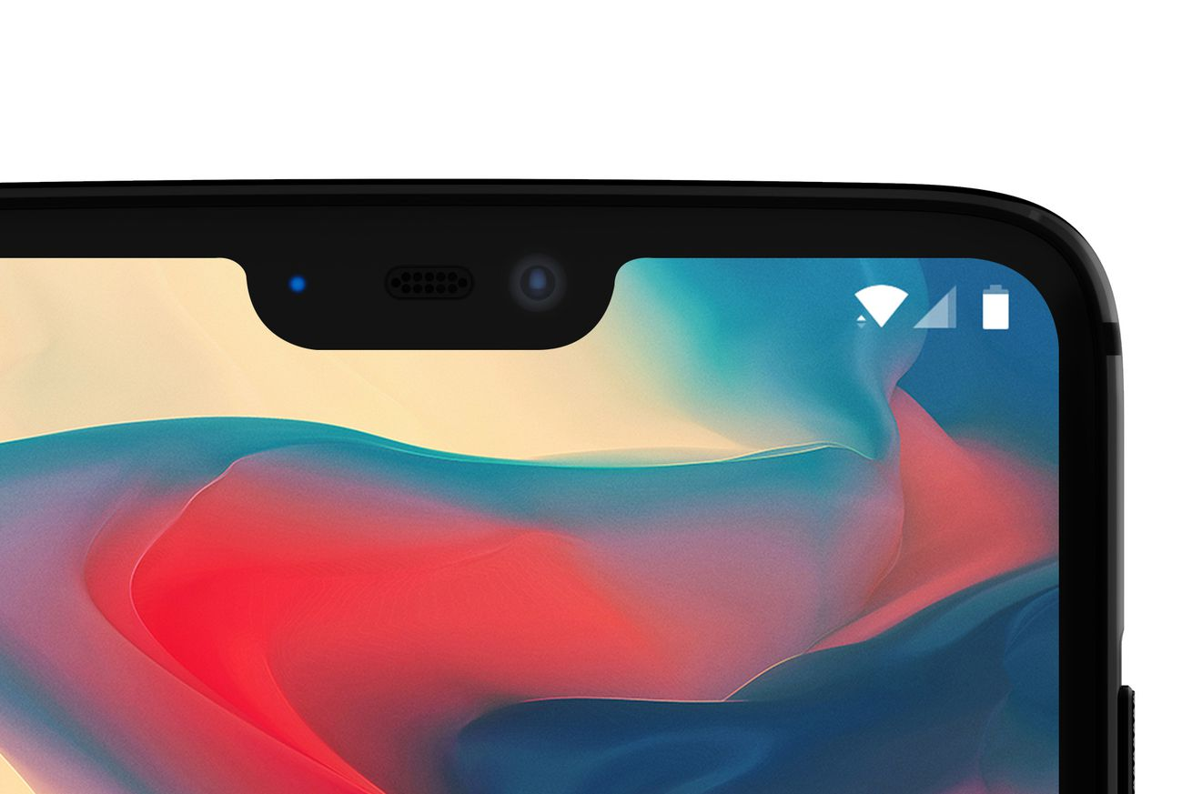 An official image of the OnePlus 6, showing the display notch and alert slider on the right-hand side of the device.