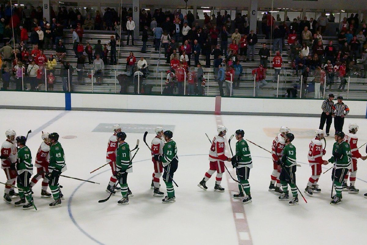 Handshake line after the Wings beat the Stars in the 2015 Prospect Tournament