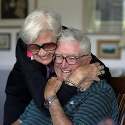 Frank and Barbara Layden hug after posing for a portrait at their home in Salt Lake City Tuesday, June 3, 2014.