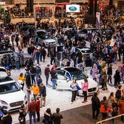 The show floor at the 2020 Chicago Auto Show, Saturday at McCormick Place.