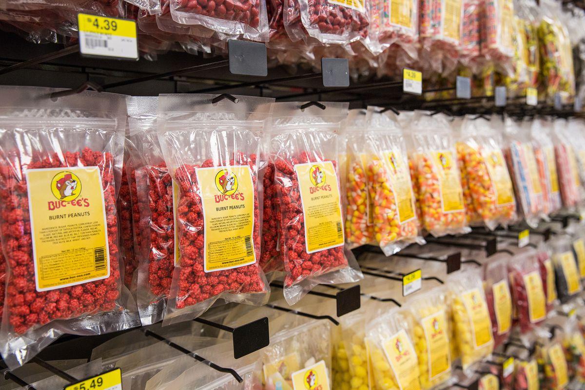A line-up of Buc-ee's prepackaged snacks.