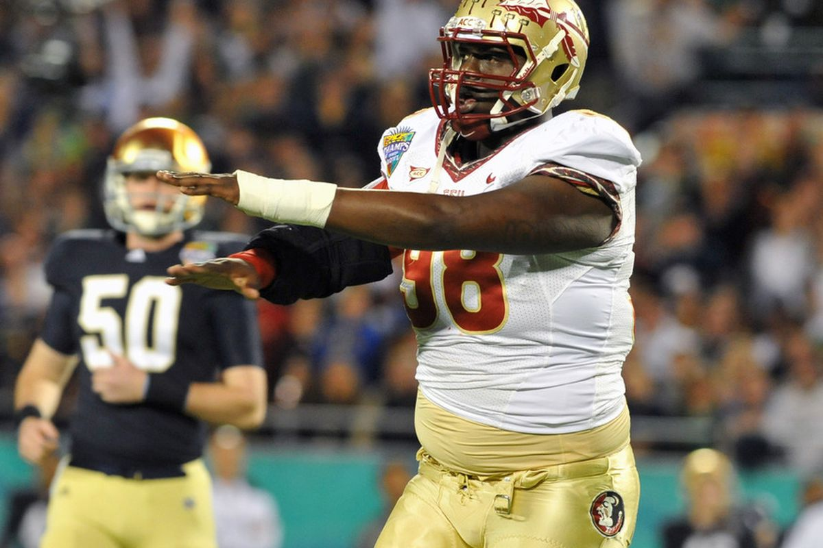 FSU will need new Left Tackle - and former Defensive Tackle - Cameron Erving to anchor the left side without ever having played a single snap at the position in college. (Photo by Al Messerschmidt/Getty Images)