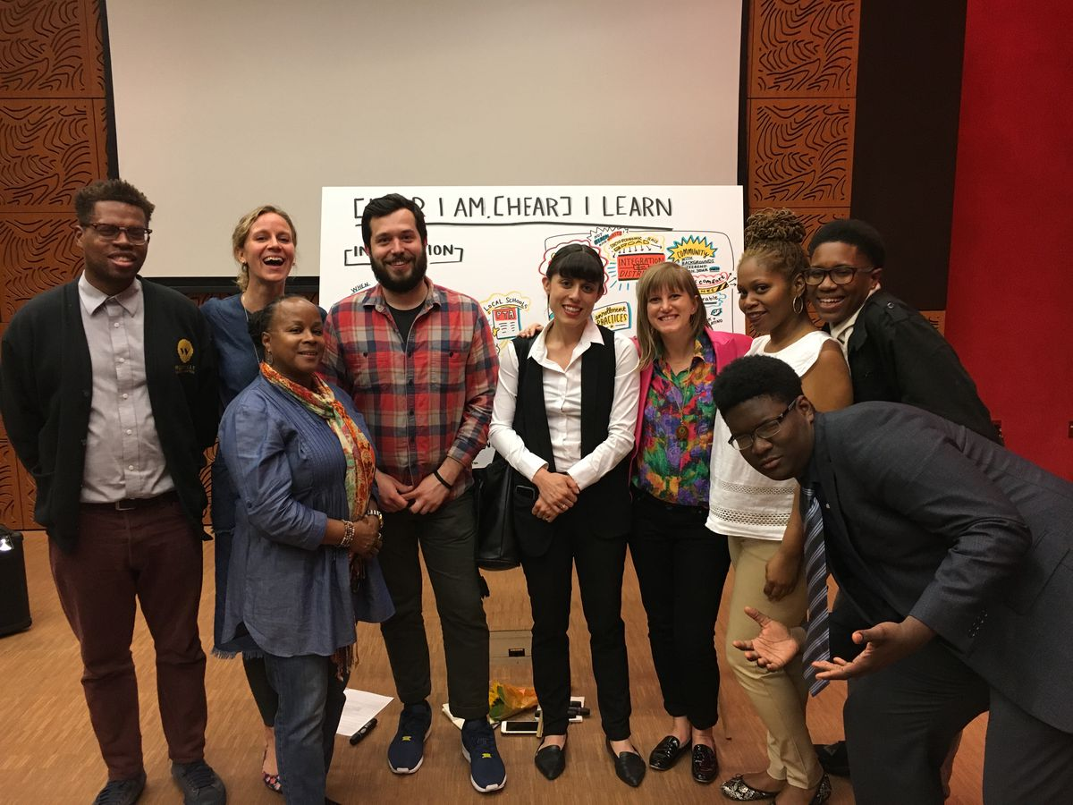 Kelly Bare (back row, second from left) at an oral history listening session she helped organize at Brooklyn's Weeksville Heritage Center with IntegrateNYC, an advocacy group working to desegregate city schools.