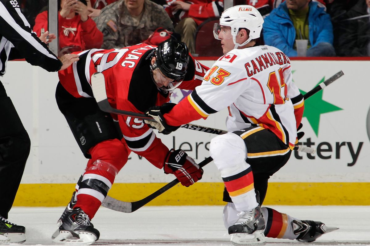 Zajac, during the faceoff, presumably explains to Cammalleri how nice New Jersey is this time of year.