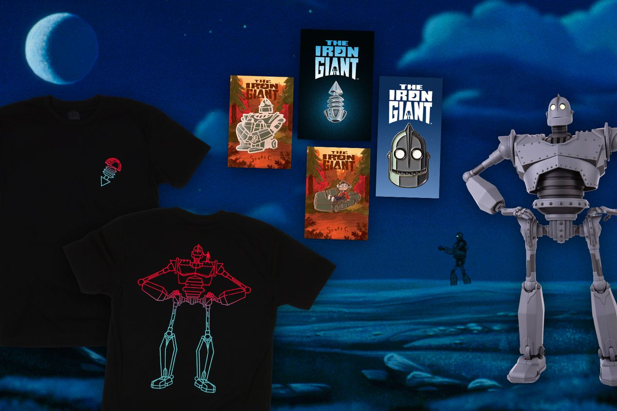 A composite image of the enamel pins, T-shirt, and vinyl figure in Mondo's The Iron Giant collection