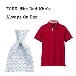 """Golf Clubs Printed Silk Tie in Light Blue, $75 at <a href=""""http://www.vineyardvines.com/silk-ties/printed/golf-clubs-tie/1TBB023,default,pd.html"""">Vineyard Vines</a> and Men Dry Pique Printed Slim Fit Short Sleeve Polo Shirt in Red, $14.90 (on sale from $1"""