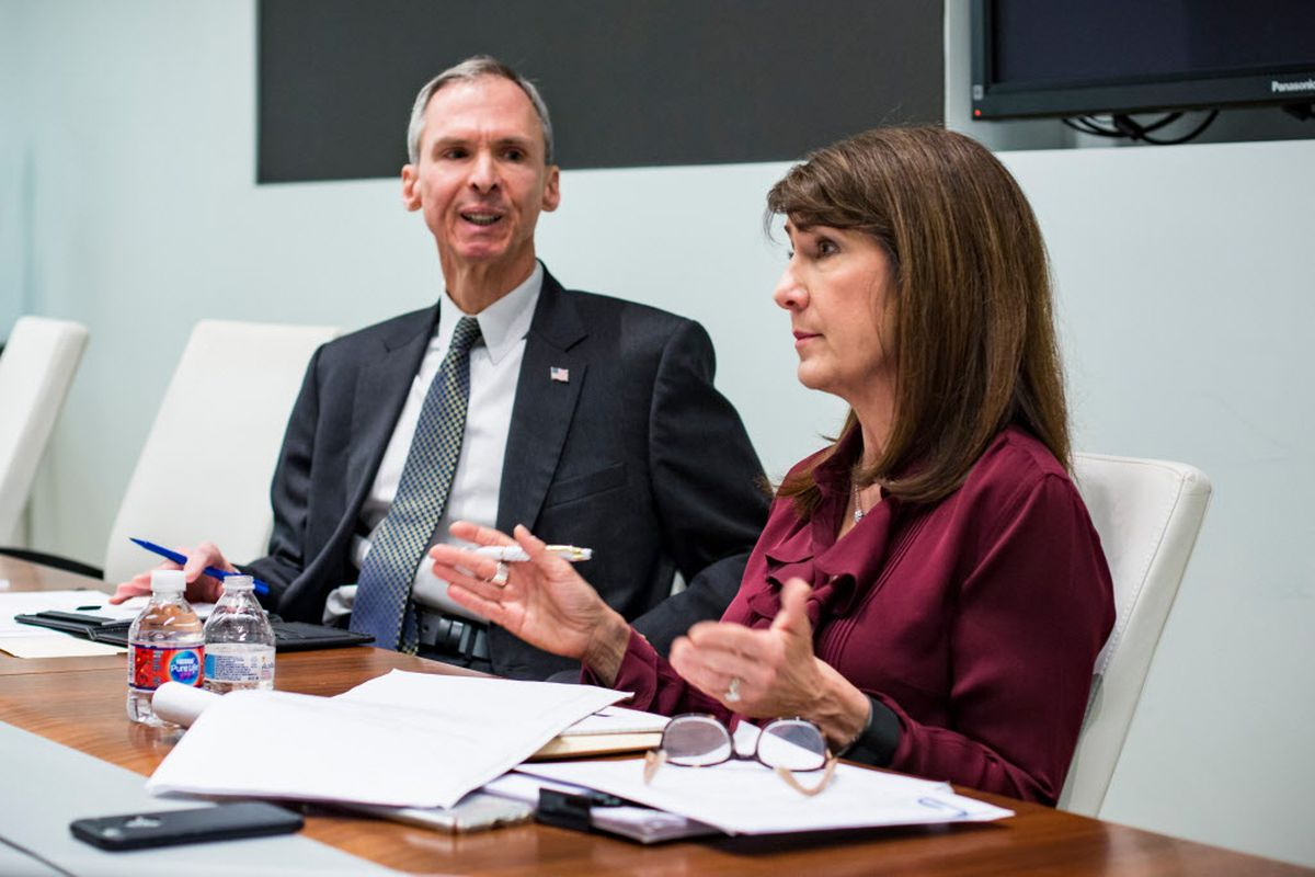 Democratic Rep. Dan Lipinski with Democrat Marie Newman in 2018 File Photo.| James Foster/For the Sun-Times