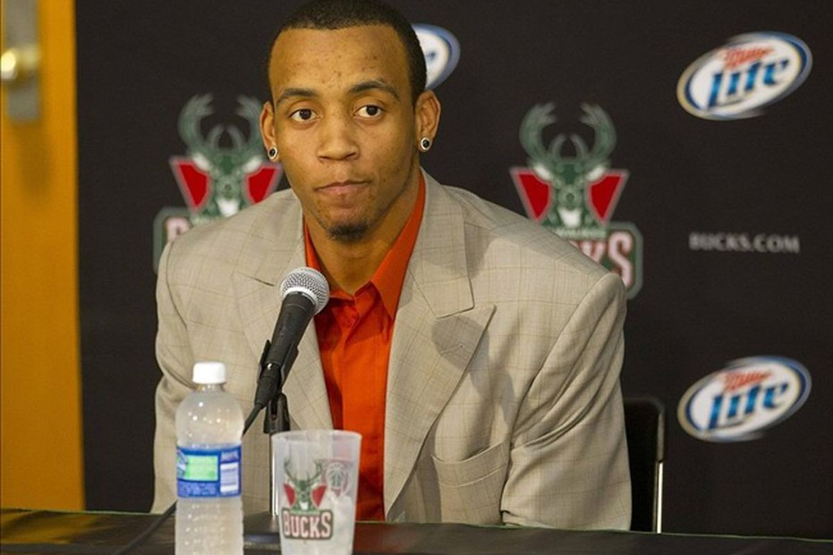 Mar 14, 2012; Milwaukee, WI, USA;  Milwaukee Bucks guard Monta Ellis answers questions during a press conference prior to the game against the Cleveland Cavaliers at the Bradley Center.  Mandatory Credit: Jeff Hanisch-US PRESSWIRE