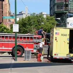 4:33 p.m. City road service crew servicing the fire engine -