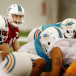 Jul 22, 2013; Davie, FL, USA;  Miami Dolphins quarterback Ryan Tannehill (17) at the line of scrimmage during  training camp at the Doctors Hospital Training Facility at Nova Southeastern University.