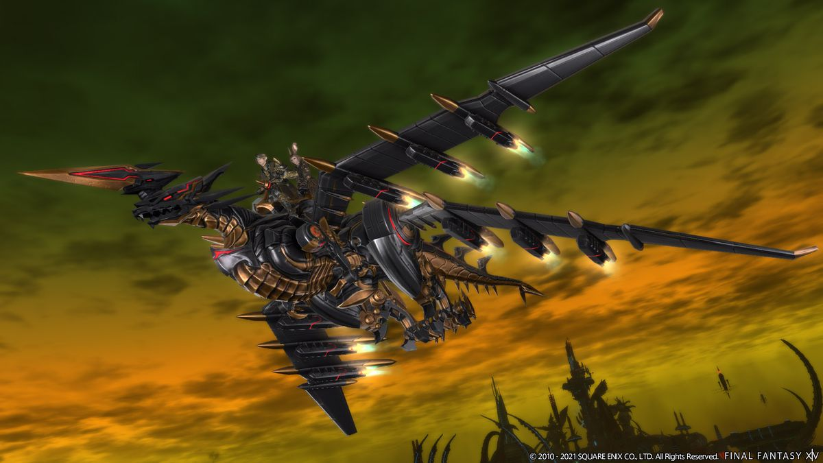 A mecha dragon with somebody riding on the back over a green and orange sky