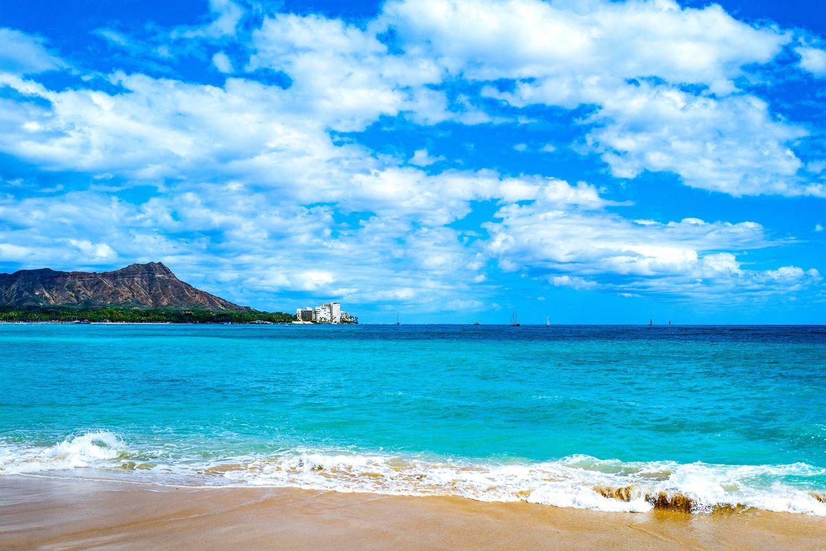 Honolulu. Hawaii. the sea seen from the coast of Waikiki area