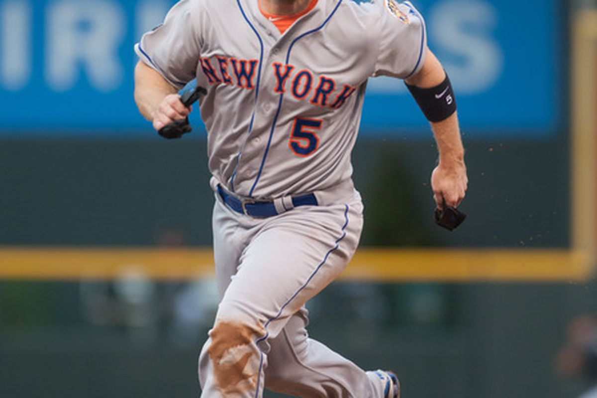 DENVER, CO - APRIL 28:  David Wright #5 of the New York Mets runs the bases during a game against the Colorado Rockies at Coors Field on April 28, 2012 in Denver, Colorado.  (Photo by Dustin Bradford/Getty Images)