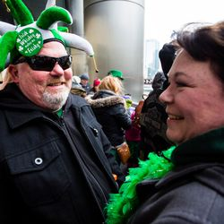 Otis and Pauline Day come out to see the Plumber's Local Union 130 dye the Chicago River green in celebration of St. Patrick's Day, Saturday, March 17th, 2018. | James Foster/For the Sun-Times