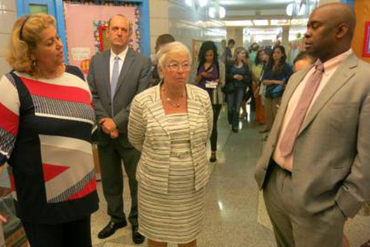 Chancellor Carmen Fariña on a tour of Manhattan's P.S. 5 with Principal Wanda Soto and Deputy Mayor Richard Buery.