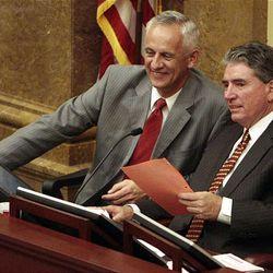 Senate President Michael Waddoups, left, and House Speaker David Clark listen to a House debate Thursday.