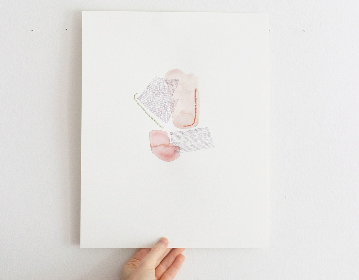 A print by artist Allie Kushnier. The print features an abstract group of shapes.