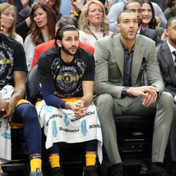 Utah Jazz center Rudy Gobert (27) watches the game from the bench while healing from a knee injury as the Utah Jazz play the Indiana Pacers in a basketball game at the Vivint Smart Home Arena in Salt Lake City on Monday, Jan. 15, 2018. The Jazz lost 94-109.