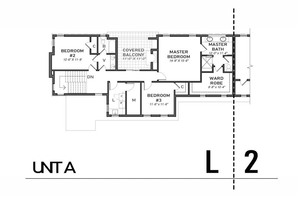A floorplan of a townhome in black and white.