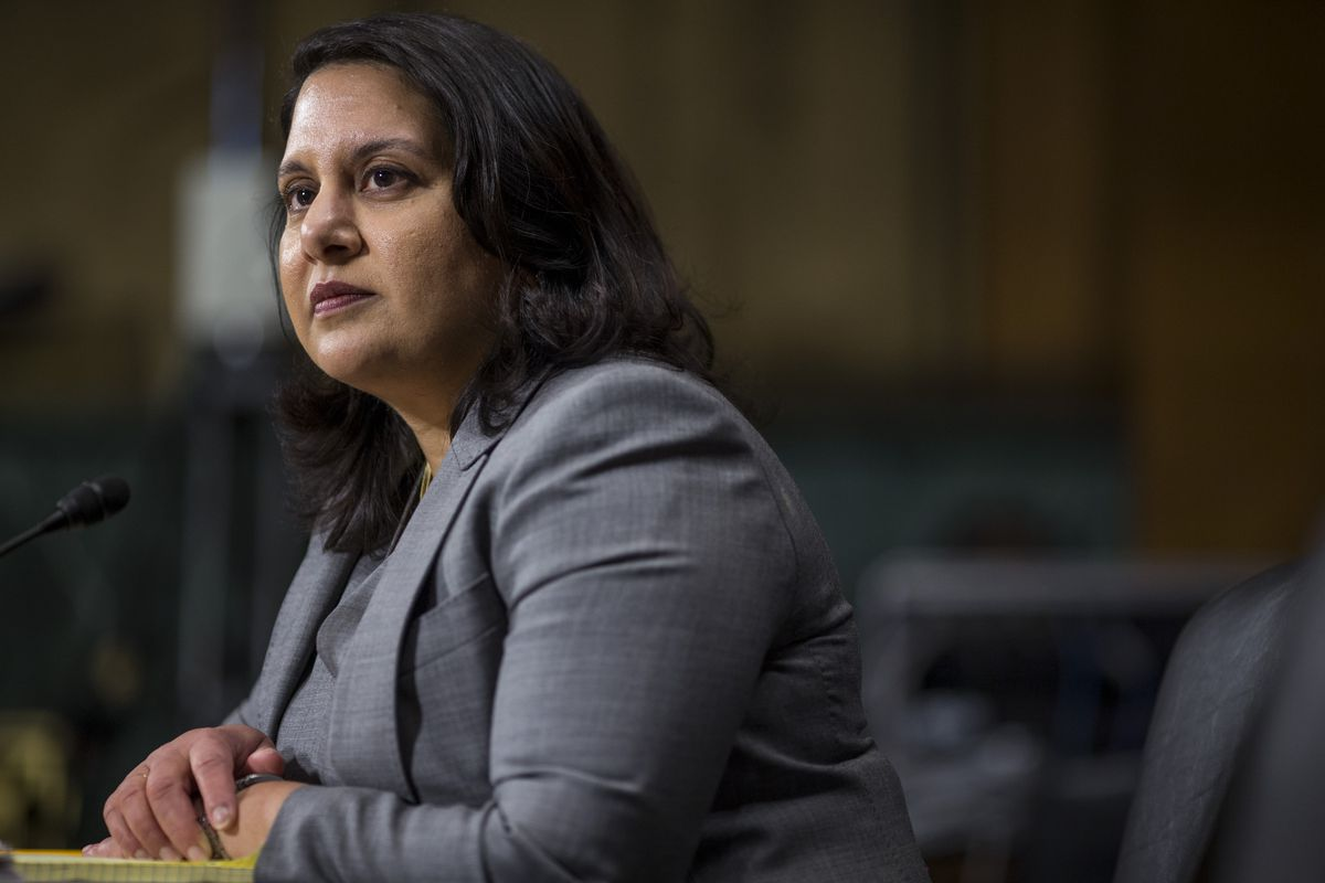 Neomi Rao testifies during a confirmation hearing on Capitol Hill on February 5, 2019