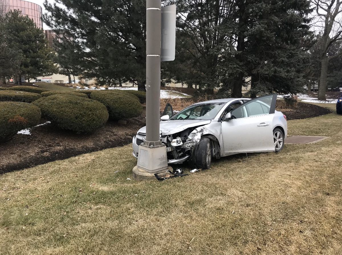 Three people were arrested after a crash with a police car that left a Rosemont police officer injured Feb. 12, 2020, on River Road between Bryn Mawr Avenue and Darcy Lane.