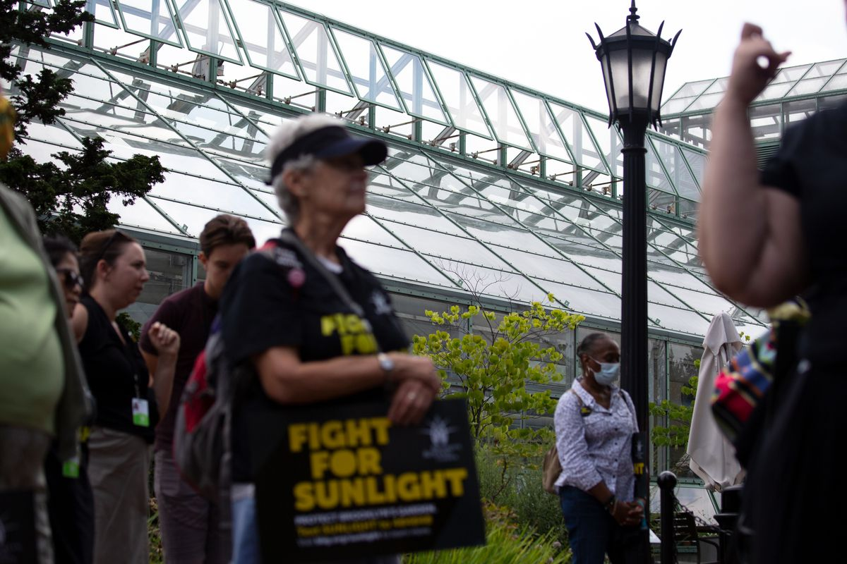 Brooklyn Botanic Garden leaders held a rally against a proposed development they say will block vital sunlight for several greenhouses, July 28, 2021.