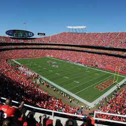 An overall view of Arrowhead Stadium during the game between the Kansas City Chiefs and Oakland Raiders. Kansas City won the game 24-7.