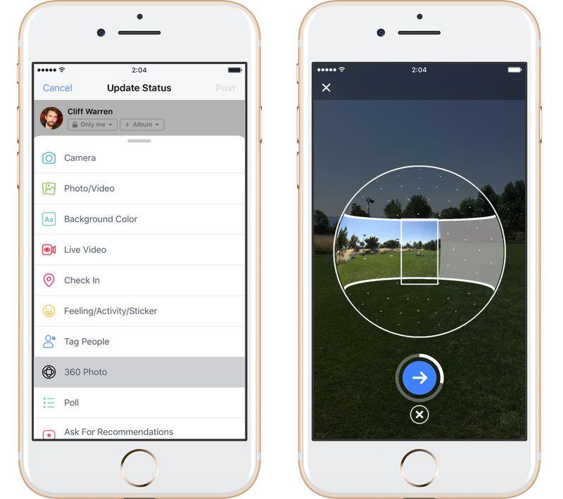 Facebook 360 foto als omslagfoto profiel