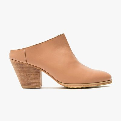 Blush colored wooden heeled clog mule.