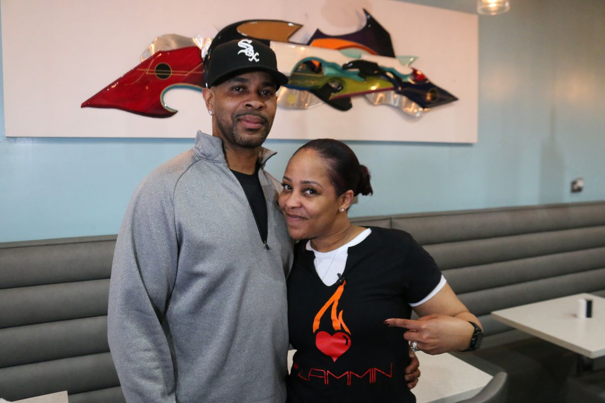 Earnest Taylor and his wife LaTasha Taylor are the owners of Flammin Restaurant.   Brian Rich/Sun-Times