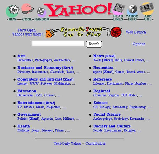 Yahoo homepage 1995