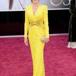 Jane Fonda looking ageless in bright yellow Versace.