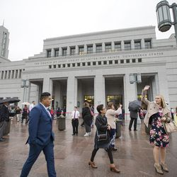 The Conference Center in Salt Lake City will be the site of funeral services for LDS Church President Thomas S. Monson on Friday, Jan. 12. Shown here are people entering the Conference Center prior to an October 2017 general conference session.