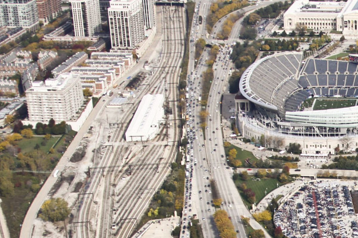 Aerial view of Soldier Field and surrounding area